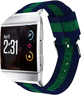 Compatible with Fitbit Ionic バンド、スポーツバンド 交換ベルト 、ナイロンキャンバス時計バンドの交換、for Fitbit Ionic スマートウォッチ (青+緑)