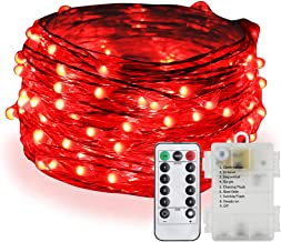 ER CHEN Fairy Lights Battery Operated Waterproof 8 Modes with Remote Timer, 33ft 100 LED Silver Coated Copper Wire Twinkle String Lights for Indoor Outdoor Decor (Red)