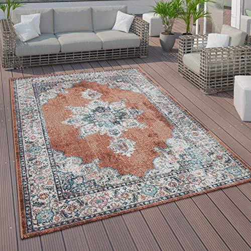 Paco Home Tappeto a Pelo Corto per Interni ed Esterni, con Design Orientale in Diversi Colori e Misure, Dimensione:120x170 cm, Colore:Rosso