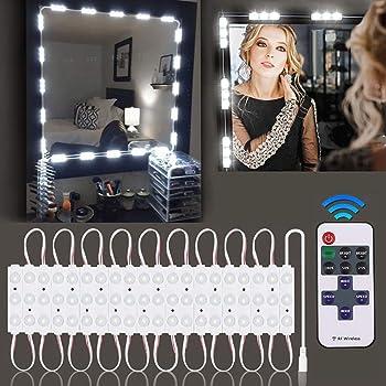 Miroir cosm/étique portable lampe de maquillage avec 10 marches luminosit/é /& 3 Modes de couleur Lumi/ère LED Miroir 5 Ampoules USB Rechargeables Lampe pour Miroir Cosm/étique