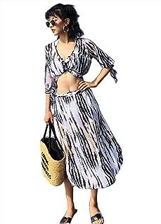 Miranda(ミランダ) 水着 レディース ビキニ タイダイ柄 トップス パンツ ホルターネックビキニ ロングスカート