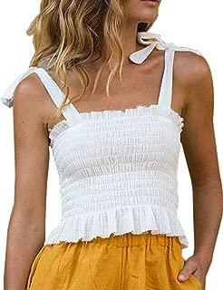 CILKOO Women's Frill Smocked Crop Tank Top Tie Shoulder Strap Vest(S-XXL) - - Large