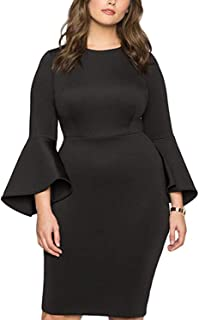 Diukia Women's Plus Size Flare Sleeve Bodycon Pencil Business Scuba Sheath Party Dress