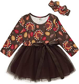GRNSHTS Baby Girl One-Piece Dress Toddler Kid Floral Long Sleeve Dresses Rose Red Tutu Skirt Bowknot Outfits