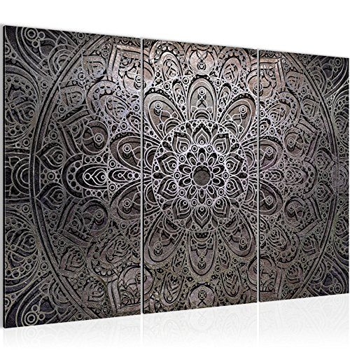 Bilder Mandala Abstrakt Wandbild 120 x 80 cm Vlies - Leinwand Bild XXL Format Wandbilder Wohnzimmer Wohnung Deko Kunstdrucke Braun 3 Teilig - MADE IN GERMANY - Fertig zum Aufhängen 109431b