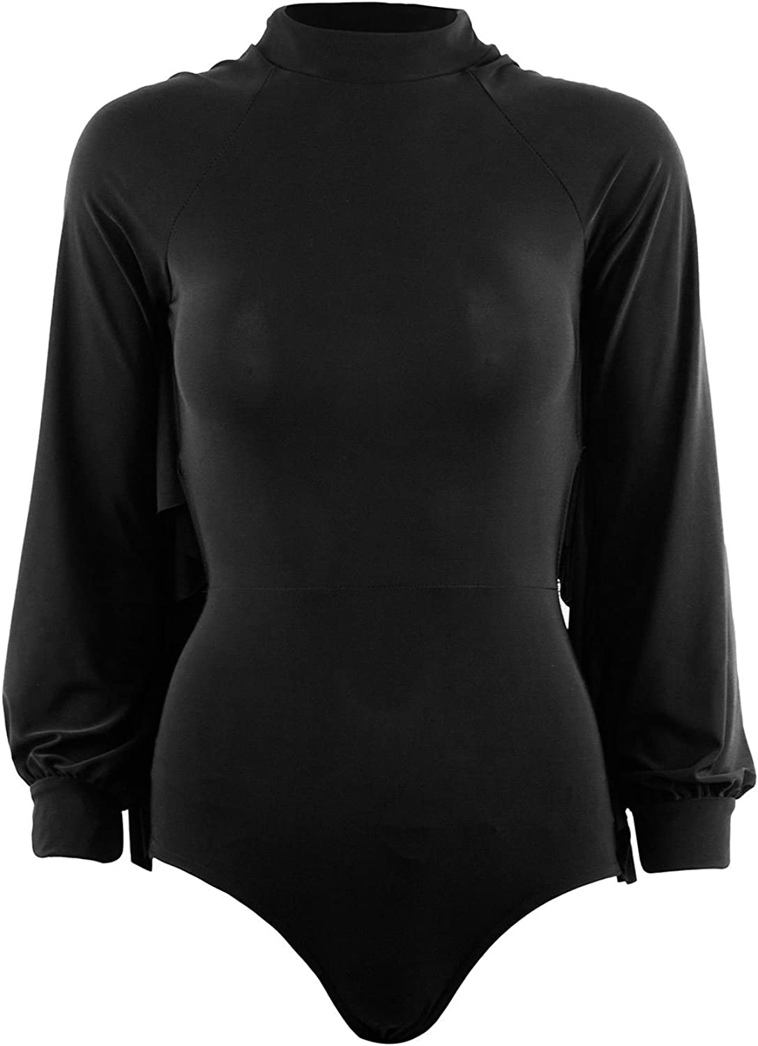 Be Jealous Womens Open Backless Frill Bodysuit Stretch Polo High Neck Leotard Top