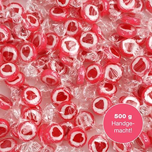 WeddingTree Herzbonbons Rot - 500g Rocks Bonbons handgewickelte Süßigkeiten Großpackung - Tischdeko zu Hochzeit Taufe Valentinstag Muttertag Kommunion
