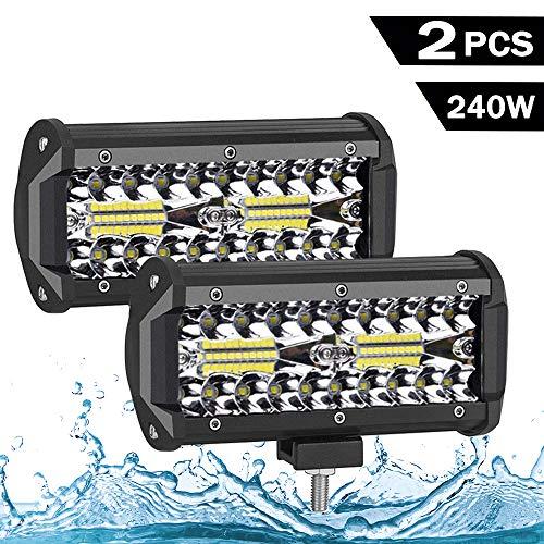 LED Zusatzscheinwerfer, 240W Arbeitsscheinwerfer 7 Zoll,26400LM, 6000K, IP68 Wasserdicht 3 Reihen Universal Flutlichtstrahler mit 80 LEDs Offroad Scheinwerfer Arbeitslicht für SUV UTV 2 Stück