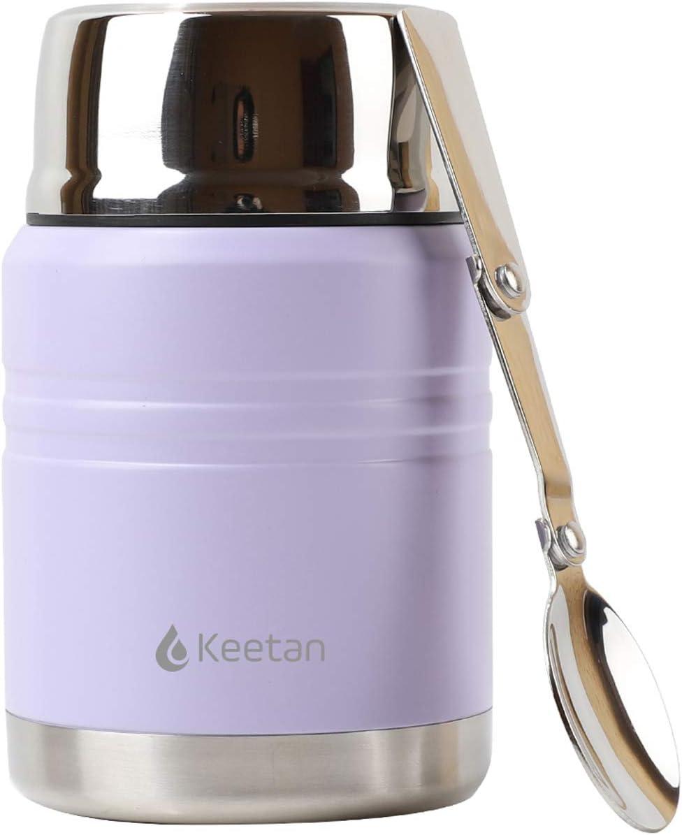 Keetan Termo de alimentos con aislamiento al vacío, sin BPA, de acero inoxidable, con cuchara plegable, caja de almuerzo (morado, 500 ml)