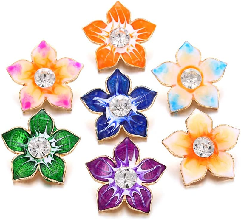 Lovglisten Snap Jewelry Charms Flower 18-2 Enamel Shape with fit 2021 Sales new