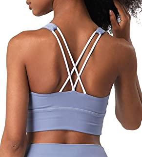 Kimmery Womens Strappy Sports Bras Padded Supportive Wirefree Yoga Bra Tops