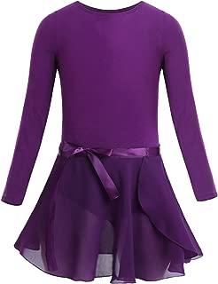 Freebily Girl Team Basic Ballet Dance Tutu Dress Outfit Sleeveless Leotard with Wrap Skirt for Gymnastics Training Activewear
