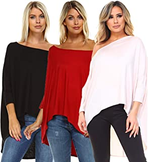 Isaac Liev 3-Pack Off Shoulder Batwing Tunic Tops