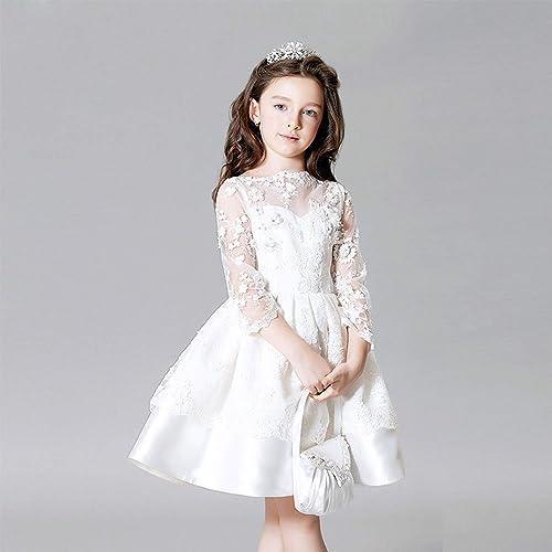 Mode Pure Couleur Enfants Robes Elegant Dentelle Longueur De Cheville Longueur Manches Longues des Robes De Fille De Fleur Costume pour La Fete De Mariage Perforhommece