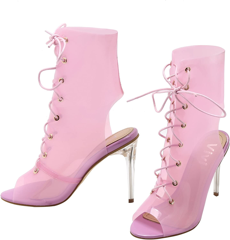 VI&VI Vivi Women's Pointy Toe Ankle Strap Lace Up Stiletto Heel Sandals