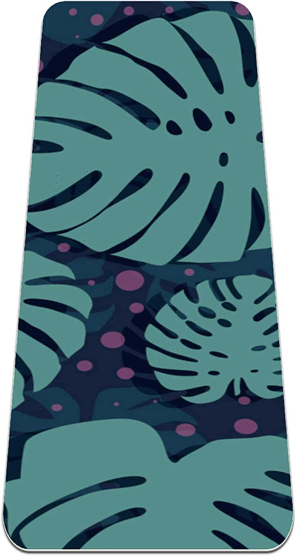 FAAXDIQ Yoga Mat Polka Dotted Background Thick Non Slip Exercise
