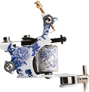 1TattooWorld (2) x Professional Cast Iron 10 Wrap Aluminum Coils Tattoo Machine Liner & Shader, White & Blue, OTW-M215-5