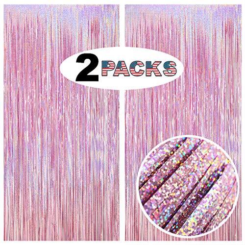 GILF 2 Packs 3.3ft x 8.2ft Sparkle Laser Glitter Metallic Fringe Tinsel Foil Curtains for Wedding Bridal Shower Birthday Party Baby Shower Graduation Photo Booth Backdrop Decoration Props (Light Pink)