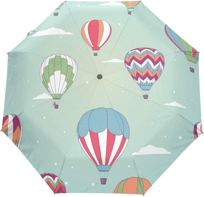 GIOVANIOR Retro Hot Air Balloon Umbrella Double Sided Canopy Auto Open Close Foldable Travel Rain Umbrellas