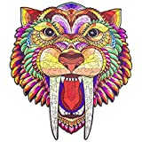 Wooden Jigsaw Puzzles for Adults - Unique Animal Shaped Tiger Wood Puzzle, Best Gift for Adults and Kids,Family Game Collection 11.4 x 10.2inch