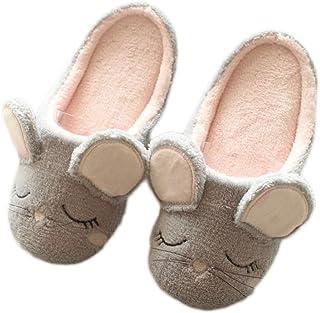 iTemer 1 par Modelos de Primavera y otoño del ratón de Dibujos Animados Zapatillas de casa Damas de Fondo Suave Deslizador...