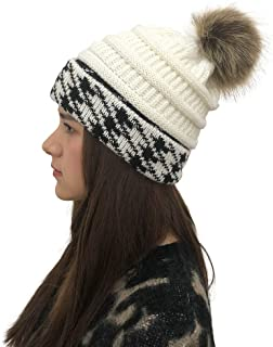 RAOEXI Winter Women Beanie Warm Cable Chunky Hat Knit Thick Lining Removable Faux Fur Pom Pom Cap with Hounds Tooth Check