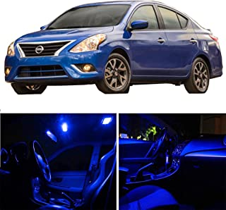 SCITOO 8Pcs Blue Package Kit Accessories Replacement Fits for Nissan Versa 2007-2012 LED Bulb LED Interior Lights
