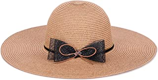 QinMei Zhou Big Along The hat Female Summer Folding Sunscreen Ladies Visor Fashion Bow Version Beach hat (Color : Beige)