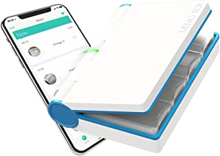 Memo Box Bluetooth Electronic Pill Organizer and APP, Visual Audio Smart Pill Reminder Alarm, Customizable daily or weekly Pill Box, Automatic Medication Records Tracking and Family Meds Notification