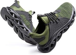 Zapatos de Seguridad Hombre Mujer con Punta de Acero Zapatillas de Trabajo Ligeras y Cómodas Calzado de Construcción Negro...