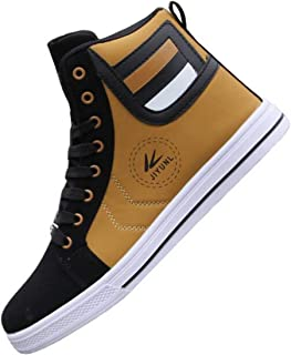 tazimall Mens Round Toe High Top Sneakers Casual Lace Up Skateboard Shoes Newest Style(3 Colors)