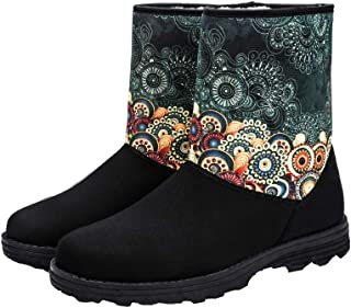 Women's Suede-Winter-Snow-Boot-Fur Insulated Lining Short...