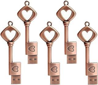 LEIZHAN 5 Pack 64GB Love Heart Key Flash Drive USB 2.0 Memory Stick Cute Jump Drive Metal Thumb Drive Retro USB Stick Pend...
