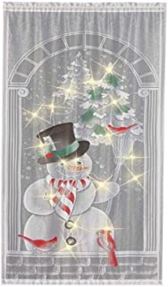 Christmas Snowman Curtains,Christmas Lace Curtains Panel White Vertical Living Room Bedroom Party Curtains