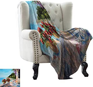 Plush Throw Blanket Seascape,Sea View Balcony with Cosy Rocking Chair Flowers in Summer Sky Oil Painting Style,Multicolor All Season Light Weight Living Room/Bedroom 50