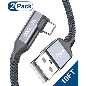 Akoada Right Angle USB C Cable (2 Pack 10ft), USB Type C Nylon Braided Fast Charging Cable for Samsung Galaxy S20 S10 S10e S9 S8 Plus Note 10 9 8,LG G8 G7 V40 V20 V30,GoPro Hero 7 6 5 and More(Grey)
