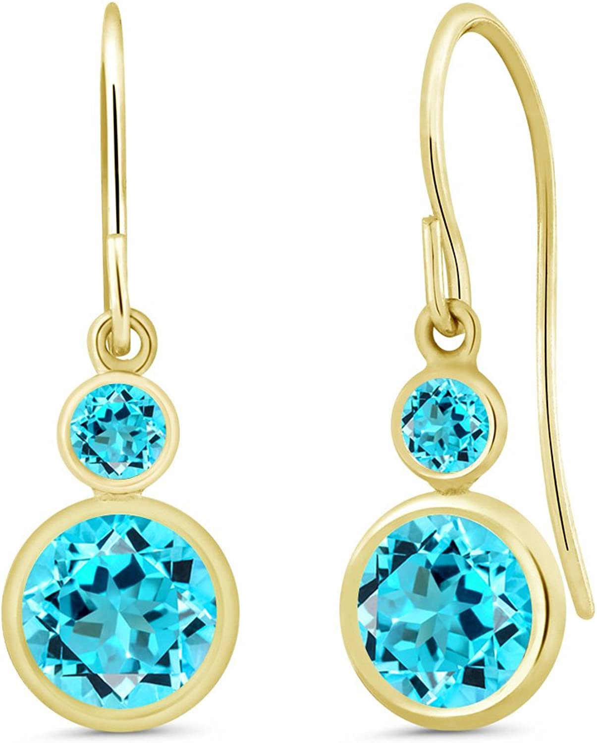 2.30 Ct Round Swiss bluee Topaz 14K Yellow gold Earrings