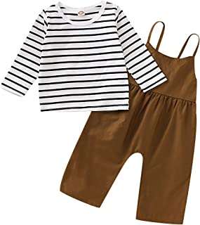 HAPPYMA Fall Winter Outfits Toddler Baby Girl Pants Sets Stripe Long Sleeve Top + Strap Loose Overalls Jumpsuit Clothes 0-4T