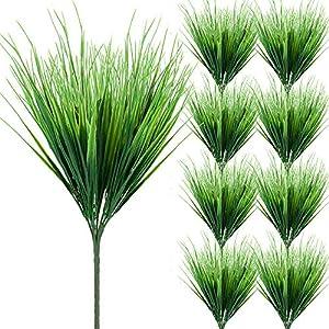 Silk Flower Arrangements Zonlong Artificial Plants Grass, 9 Bundles Fake Plastic Greenery Shrubs Grass, UV Resistant Plants Spring Grass, for Outdoor Verandah Outside Home Garden