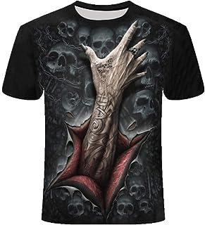 KPII Unisex Camisetas, 3D Esqueleto Patrón Impreso Camisetas Cuello Redondo, Gracioso Verano Casual Manga Corta