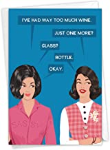 NobleWorks - One More Bottle - Happy Birthday Greeting Card for Women, Sister, Mom - Funny Wine Bday Joke, Bluntcard with ...