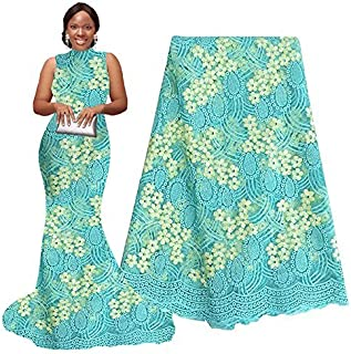pqdaysun 5 Yards African Net Lace Fabrics Nigerian French Fabric Embroidery and Rhinestones Guipure Cord Lace (aqua)
