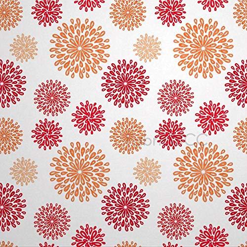 daoyiqi Juego de pegatinas decorativas para azulejos, diseño floral rojo y naranja de 10,16 x 10,16 cm, adhesivo de vinilo para suelo, 12 unidades, resistente al agua, para decoración del hogar