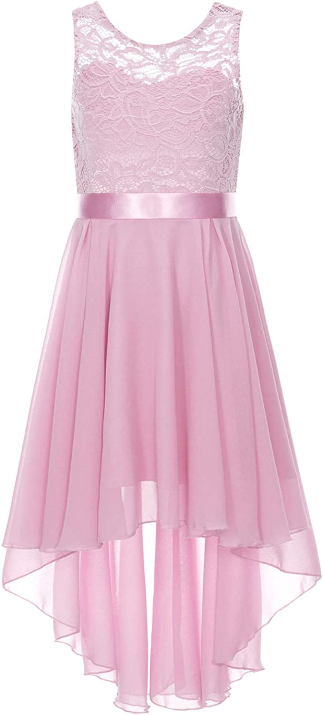 Duoremi Kids Flower Girls Sleeveless Hi-Low Chiffon Junior Bridesmaid Dress Lace Floral Wedding Pageant Proms Dresses