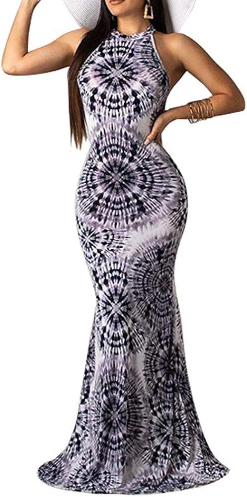 Akk Womens Tie Dye Ombre High Neck Sleeveless Cut Out Bodycon Floor Lengt Mermaid Maxi Long Evening Dress Gown
