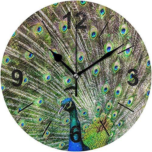 L.Fenn Wandklok, rond, dier, vogel, veren, pauw staart, diameter stil, decoratief voor thuis, kantoor, keuken, slaapkamer