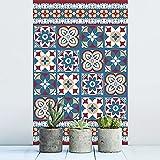 Walplus Adhesivos de pared extraíble Autoadhesivo Arte Mural VINILO DECORACIÓN HOGAR BRICOLAJE Living Cocina Dormitorio Decor papel pintado regalo rojo y azul TALAVERA Azulejos - 20 cm x 20cm - 12pcs