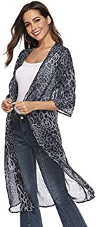 Women Cardigans UV Protections Long Sunscreen Shirt Thin Beach Cardigan Leopard Pattern Chiffon Cardigans Blouse Tops Shirt