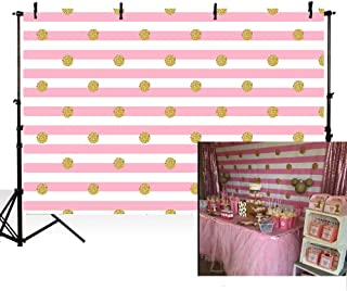 MEHOFOTO Photography Backdrops Cute Pink and White Stripes Gold Polka Dots Princess Baby Shower Girl Birthday Party Banner Photo Studio Booth Background 7X5ft