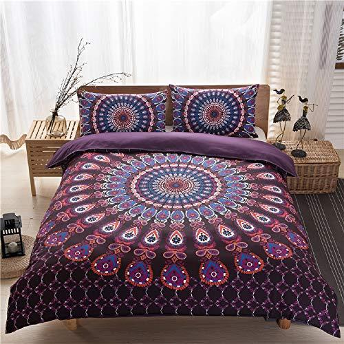 ZHH Bohemian Duvet Cover Sets Sun Flowers 3 Pcs Duvet cover Double Size Bedding Set Super Soft Polyester Fiber Bedding Clothes Indian Hippie Colorful Quilt Cover, 1 x Duvet Cover & 2 x Pillowcases